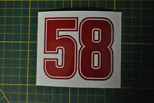 Sticker SIMONCELLI  SIC 58 NUMERO  ROUGE   dimension 70x80mm