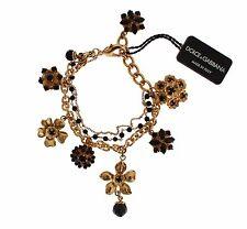 NEW $680 DOLCE & GABBANA Bracelet Gold Brass Black Floral Crystal Charm Beaded