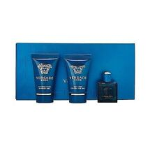 VERSACE EROS 5 ml EDT Mens Splash mini Cologne + 25 ml after shave & gel SET