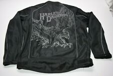 Men's Large Harley Davidson Motorcycle Mesh Black Eagle Riding Coat