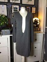 Knit Dress Jumper S Grey Wool Angora Cashmere Long Tunic Dress V Neck Eseoese