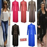 Women ladies Long Sleeve Heavy Lace Crochet Open Boyfriend Maxi Cardigan Top