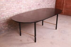 Paul McCobb for Calvin Black Lacquer and Brass Extension Dining Table