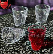 Halloween Plastic Skull Shot Glasses - 4 Pack Clear Colour