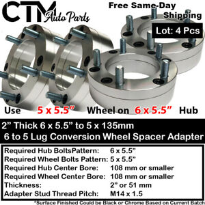 """4P 2"""" THICK 6x5.5 to 5x5.5 108mm CB CONVERTION WHEEL ADAPTER SPACER 14x1.5 CHEVY"""