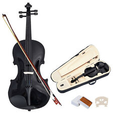 4/4 Full Size Natural Acoustic Violin Fiddle with Case Bow Black New