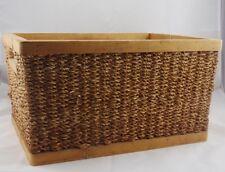 Woven Sisal Basket w/Wood Frame - Small