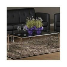 Glass Coffee Table Modern Cocktail Rectangular Chrome Living Room Furniture New