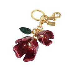 Fob Bag Charm Red w Leaf 58514 Nwt Coach Floral Tea Rose Key Ring