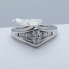 14K White Gold Marquis and Baguette  Diamond Engagement Ring