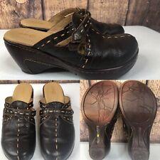 Womens JAMBU J41 'Torino' Brown Leather Wedge Mules Shoes SIZE 7 M