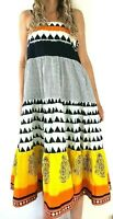 Zola Strapless A Line Tiered Midi Dress Boho Print Bright Indian Summer Large