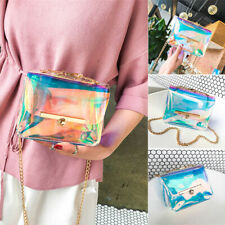 Women PVC Transparent Clear Shoulder Bag Tote Jelly Purse Wallets Handbag US