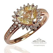 GIA Untreated 18kt Rose Gold 1.93 tcw Heart Cut Yellow Natural Sapphire Ring