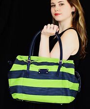 Kate Spade NY JUBILEE STRIPE Drawstring Opus NAVY GREEN Shoulder Handbag APPLE