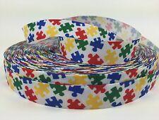 "BTY Printed 7/8"" Colorful Autism Grosgrain Ribbon Hair Bows Lisa"
