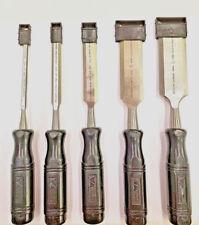 "5 Pc Wood Chisel Set by Vermont American, 1/4"" thru 1-1/2"",Chrome Vanadium Steel"