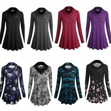 Casual Ladies Cowl Neck Long Sleeve Button A-line Flared Flowy Tunic Top Blouse