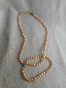 """18"""" knotted cream 5mm/5.5mm off round fw pearl necklace & 7"""" bracelet 925 clasps"""