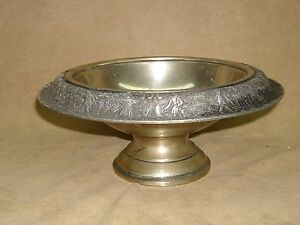 ANTIQUE NICKEL SILVER FTD. BOWL WITH COLONIAL FIGURES  REPOUSSE BORDER!