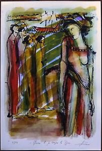 Rosario LA POLLA cartella completa con 3 litografie colorate a mano ECUBA firmat