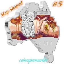 Australia 2014 Map Shaped Series Koala 1oz Silver Coin Mintage 6000 COA & Box !!