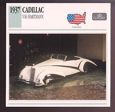 1937 Cadillac V16 V-16 Hartmann 452ci Motor Car Photo Spec Sheet Info Stat CARD