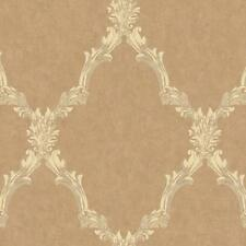 Wallpaper Traditional Acanthus Leaf Lattice Palest Pearled Copper, Ivory, Taupe