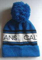 Calvin Klein Winter Hat Blue & White Stripe Pom Pom Fold Over Warm NWT
