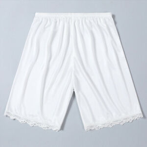 "Women Silky Nylon Lace Slips Short Vintage Lace Trim Pettipants Shorts 15.7inch"""