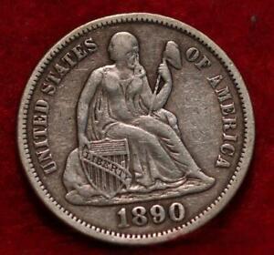 1890 Silver Philadelphia Mint Seated Liberty Dime