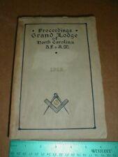 Grand Lodge North Carolina AF & AM 1915 Ancient Free & Accepted Masons NC Book