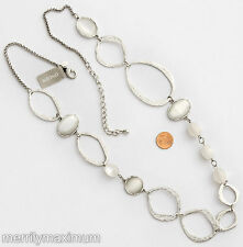 Chico's Signed Necklace Silver Tone Long Hammered Chain Rings Ovals & White NWT