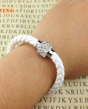 White Colour Leather Wristband Magnetic Rhinestone Bracelet Size M
