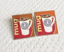 Two! Starbucks Mug Fresh Roasted Coffee Silverstone Metal Employee Lapel Pins