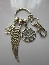 Handbag/keyring/zip charm pendant wing owl tree of life antiqued silver tone