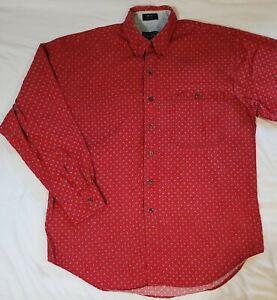 Ralph Lauren Chaps Men's Red Stars LS Button Shirt Size Large    (R1Sh)