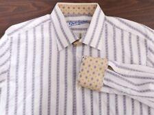 Robert Graham Polka Dot Stripe White Button Down Dress Casual Shirt Men's XL