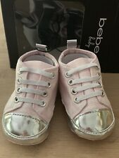 bebe BABY Infant 2 Light Pink Canvas Logo Crib Shoes Silver Mirror Toe Cap $32