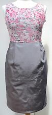 Darling silk cotton mix sleeveless dress pink & grey multi wedding / party UK 8