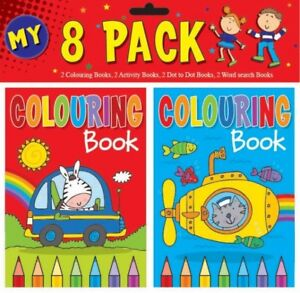 PACK OF 8 MINI A6 SIZE CHILDRENS ACTIVITY BOOKS COLOURING DOT TO DOT KIDS CHILDS