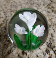 Vintage Glass White Calla Lily Flower Paperweight