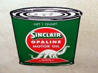 """VINTAGE SINCLAIR OPALINE QUART OIL CAN W/ DINO 11"""" PORCELAIN METAL GASOLINE SIGN"""