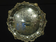 """Ornate Footed 14"""" Diameter Sheridan Silver Plate Tray"""