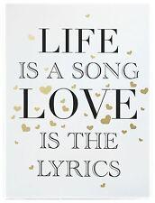 Segno di amore in legno dorato Muro Appeso Placca 30cmx40cm ~ la vita è una canzone