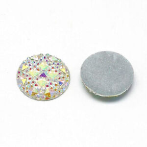 10 pcs Druzy Resin Embellishment Cabochons Clear White Multicolor Iridescent AB