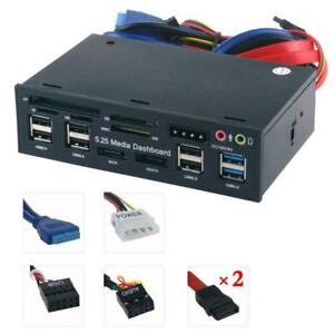 5.25'' PC Front Panel Dashboard Media USB 3.0 Hub Audio Reader Card eSATA L3J8