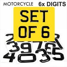 3d Gel MOTORCYCLE Number Plate Domed Resin Making DIY REG DIGITS PACK SET OF 6x