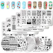 NICOLE DIARY Nagel Stamping Schablonen Stempel Christmas Theme Flowr Nail Art