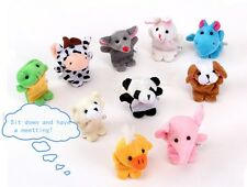Set of 10 Zoo Farm Animal Finger Puppets Plush Cloth Toys Bed Story Telling Kids